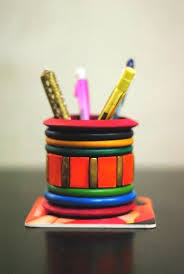 Pen Stand From Old Bangles   Best Out of Waste