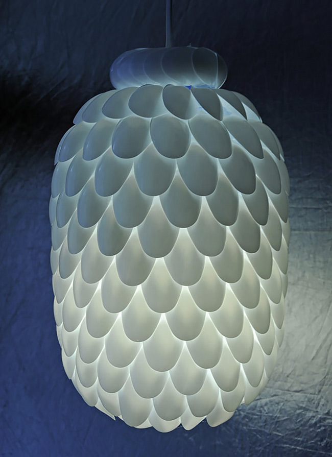 Plastic Spoon Lamp with Waste Material