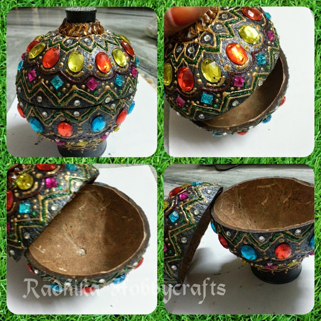 Coconut shell jewellery box best out of waste wiki how for Waste crafts making
