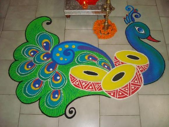 Easy Steps To Make Rangoli | Simple And Beautiful