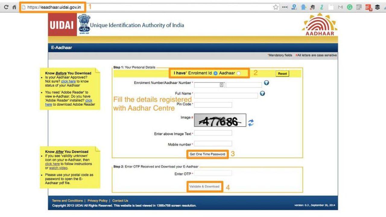 aadhar card download using aadhaar no